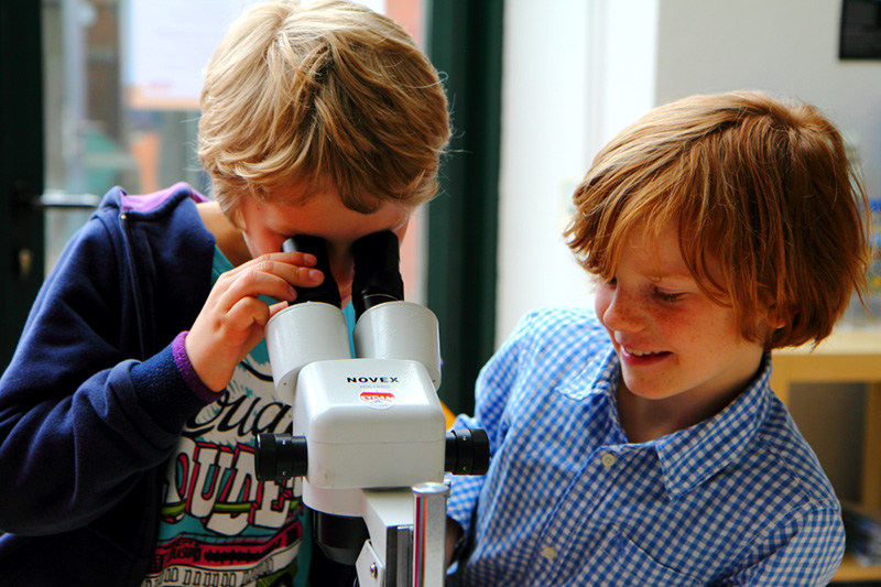 Two Boys  with a microscope